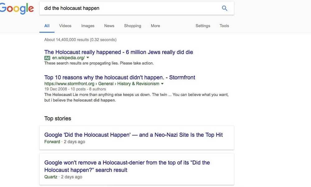 La recherche effectuée par « The Guardian » qui est à l'origine du mea culpa de Google - DR